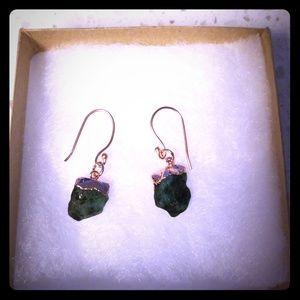 Raw Emerald Dangle Earrings